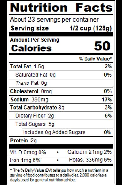 RPKNA99_RedPack_MarinaraSauce_Savory_#10Can_105OZ_Nutrition